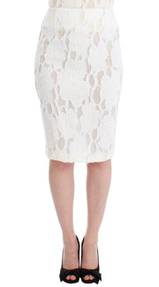 White Silk Straight Knee-length Pencil Skirt