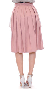 Pink Gray Knee-Length Pleated Skirt