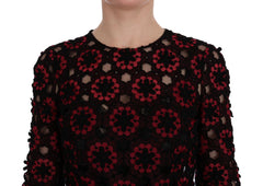 Red Floral Ricamo A-Line Shift Dress