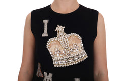 Black I AM A PRINCESS Crystal Shift Dress
