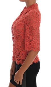 Orange Crystal Buttons Floral Lace Blouse
