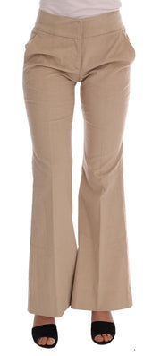 Beige Cotton Bootcut Pants