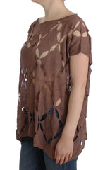 Brown short sleeved knit