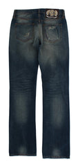 Blue Wash Torn Cotton Slim Fit Jeans