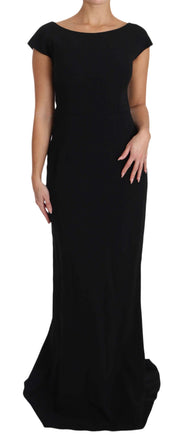 Black Stretch Fit Flare Gown Maxi