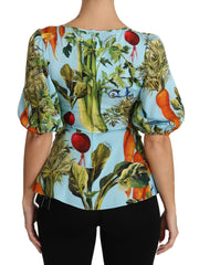 Multicolor Vegetable Print Silk Top Peplum Wrap Blouse