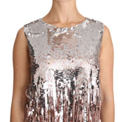 Golden Pink Sequined Fringe Tank Top