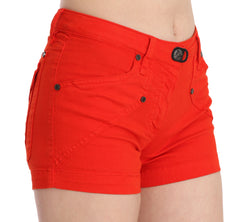 Orange Mid Waist Cotton Denim Mini