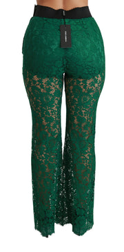 Green Lace High Waist Flared Pants