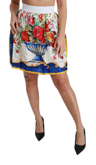 White Flower Vase High Waist Mini Skirt Silk
