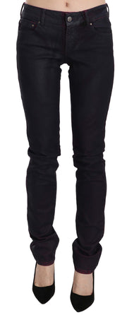 Black Cotton Low Waist Skinny Denim Pants