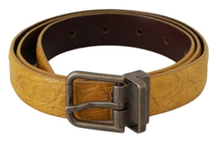 Yellow Exotic Skin Leather Grey Buckle Belt
