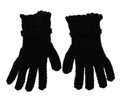 Black Knitted Mid Arm Length Cotton Gloves