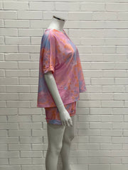 Multicolour Tie Dye Loungewear Set Pink