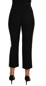 Military Embellished Pants Black Gold Dress Pant