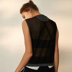 Black Gym Tank Top With Mesh Back View
