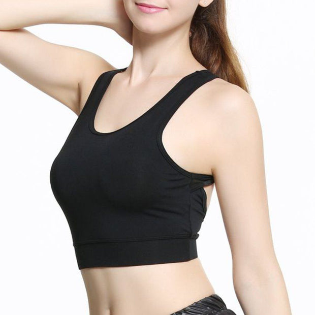 Black Cropped Sports Bra