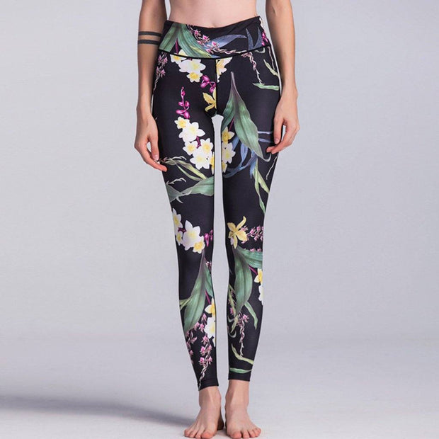 Floral Print High Waisted Gym Leggings