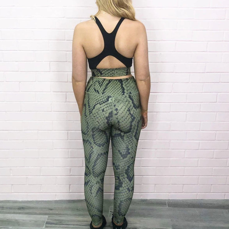 Green Snake Print Crop top and legging sets