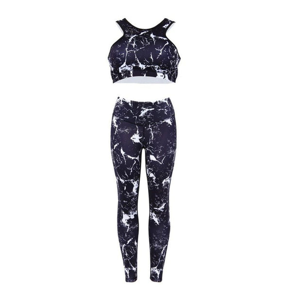 Marble Print Leggings and Crop Top Product Image