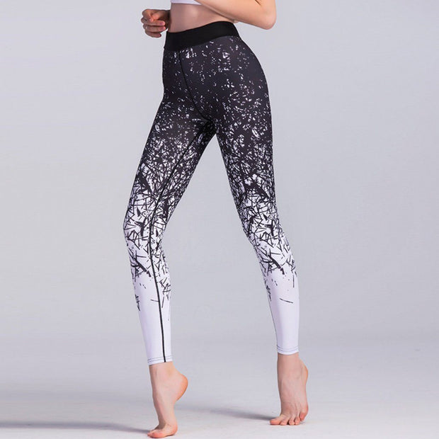 Black & White Printed High Waisted Gym Leggings