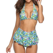 Blue Tropical Print two piece Bikini Set