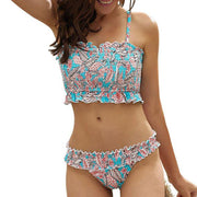 Leaf Printed Stretch Two Piece Bikini