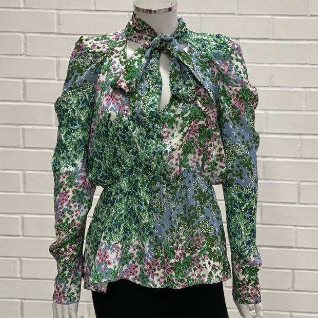 Women's Green and Blue Floral Print Long Sleeve Blouse