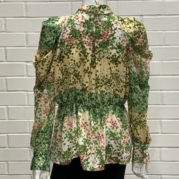 Women's Pink and Green Floral Print Long Sleeve Blouse