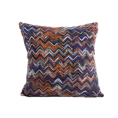 Blue & Orange Multi Stripe Cushion Cover (Includes Cushion)
