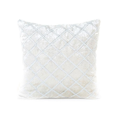 White Embroidery Velvet Cushion Cover (Includes Cushion)