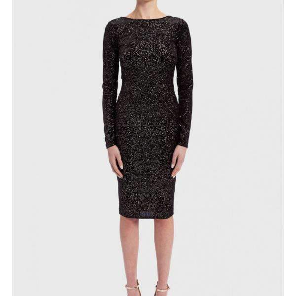 Black Glitter Velvet Forever Unique Midi Dress