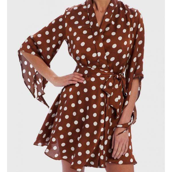 Polka Dot Wrap Dress Tan - Front View