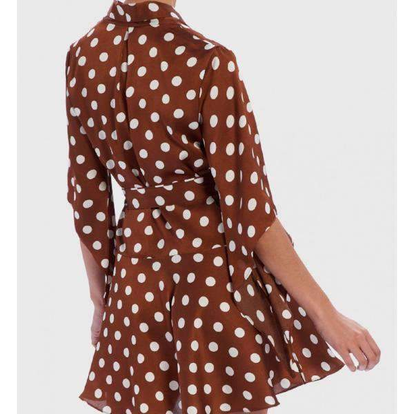 Polka Dot Wrap Dress Tan - Back View