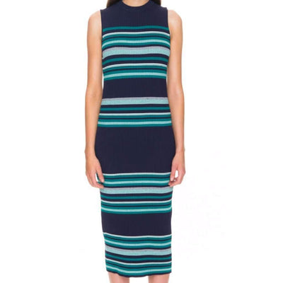 Sleeveless Knitted Stripe Midi Dress