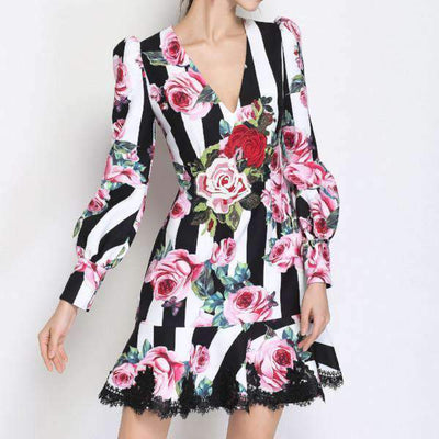 Striped Rose Comino Couture Dress - Front View