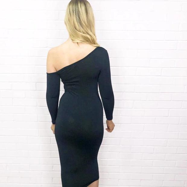 Megan Black One Shoulder Midi Bodycon Dress - XXVI London