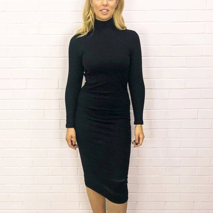 Black Roll Neck Midi Dress Front Image