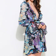 Blue Kaleidoscope Plunge Midi Dress With Bell Sleeves - Comino Couture