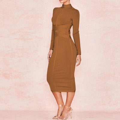 Brown Bodycon Midi dress