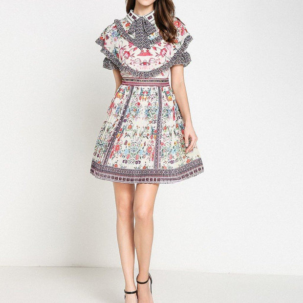 Floral Pleated Mini Dress - Comino Couture