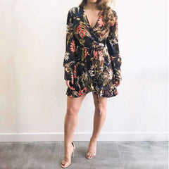 Floral Print Silky Wrap Dress Front View