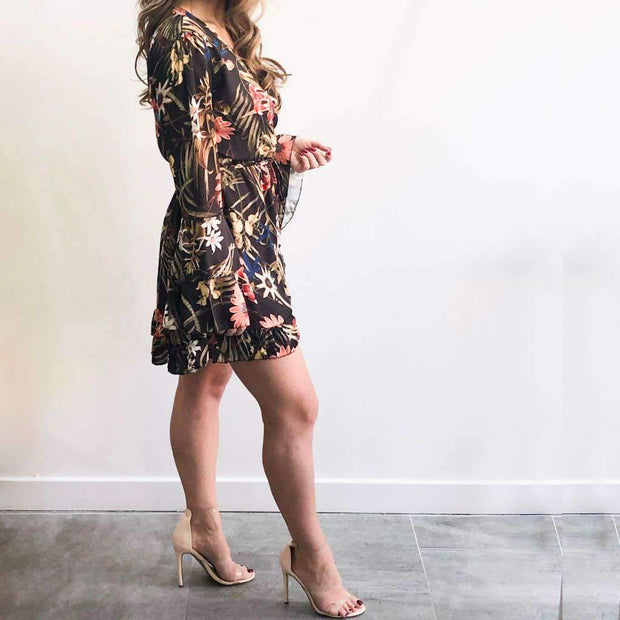 Floral Print Silky Wrap Dress Side View