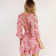Floral Ruffle Pink Mini Dress