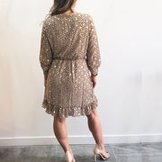 Gold Leaf Ruffle Mini XXVI London Dress Back View
