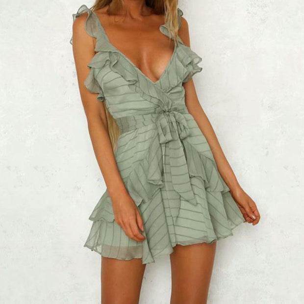 Khaki Sleeveless Ruffle Mini Dress