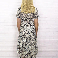 Leopard Print Drop Hem Maxi Dress with Plunging Neckline