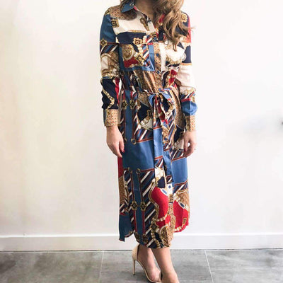 Multicoloured Chain Print Midi Dress Front View