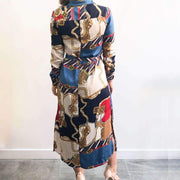 Multicoloured Chain Print Midi Dress Back View