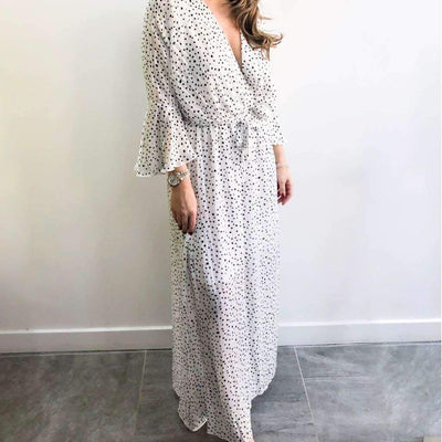 Polka Dot XXVI London White Maxi Dress Front View